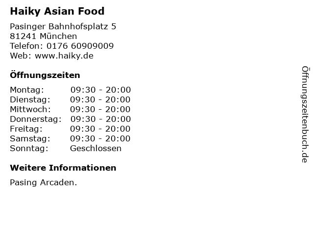 Haiky Asian Food in München: Adresse und Öffnungszeiten