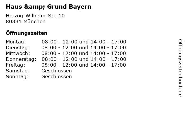Haus & Grund Bayern in München: Adresse und Öffnungszeiten