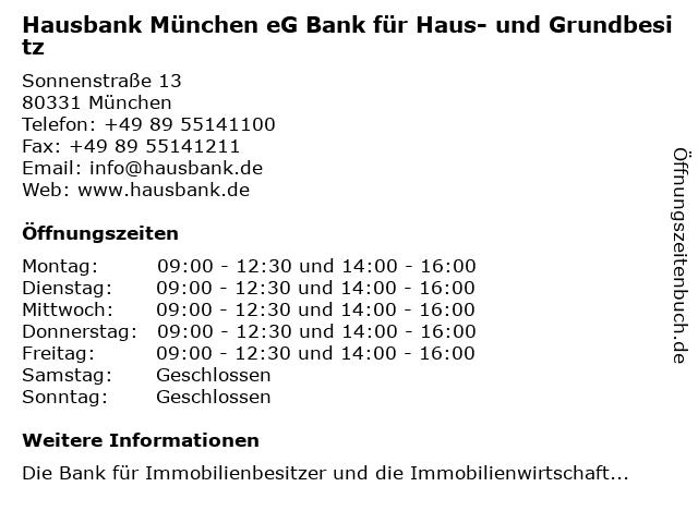Hausbank München eG Bank für Haus- und Grundbesitz in München: Adresse und Öffnungszeiten