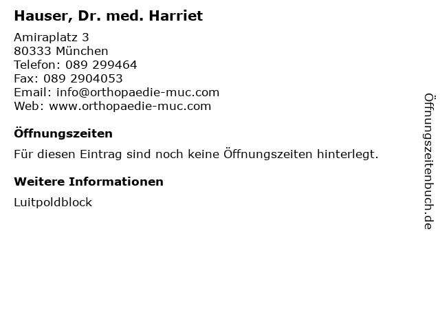Hauser, Dr. med. Harriet in München: Adresse und Öffnungszeiten
