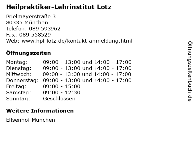 Heilpraktiker-Lehrinstitut Lotz in München: Adresse und Öffnungszeiten