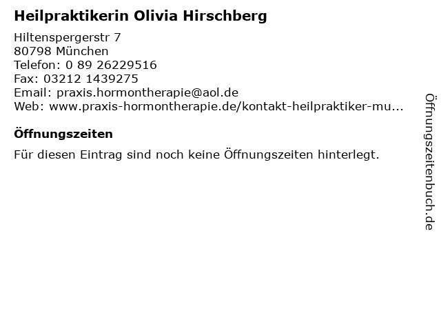 Heilpraktikerin Olivia Hirschberg in München: Adresse und Öffnungszeiten
