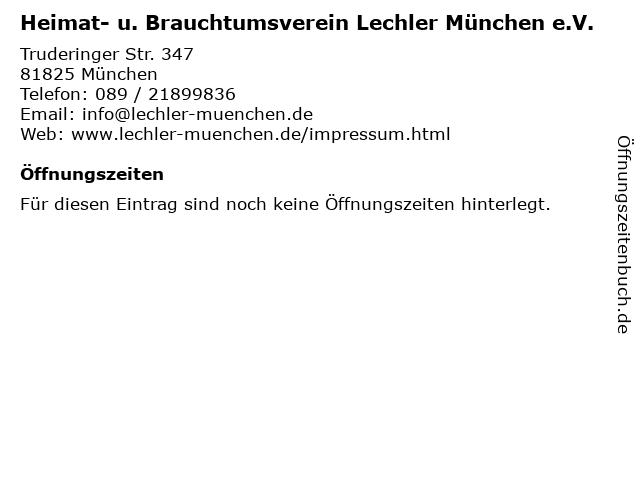 Heimat- u. Brauchtumsverein Lechler München e.V. in München: Adresse und Öffnungszeiten