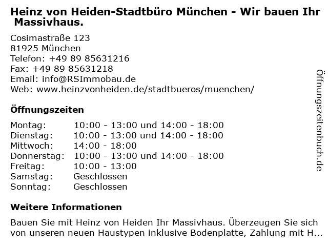 Heinz von Heiden-Stadtbüro München - Wir bauen Ihr Massivhaus. in München: Adresse und Öffnungszeiten