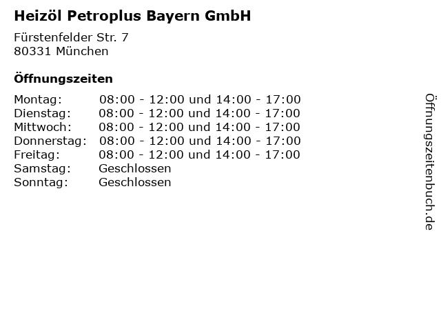 Heizöl Petroplus Bayern GmbH in München: Adresse und Öffnungszeiten