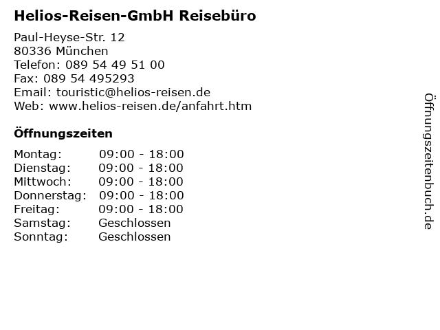 Helios-Reisen-GmbH Reisebüro in München: Adresse und Öffnungszeiten