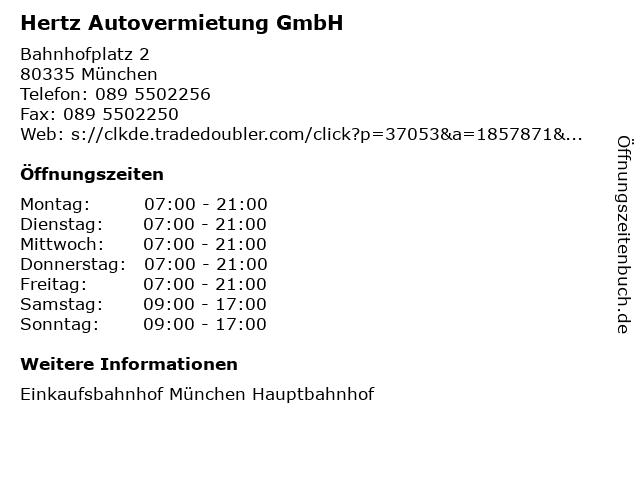 Hertz Autovermietung GmbH in München: Adresse und Öffnungszeiten