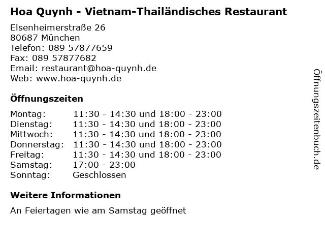 Hoa Quynh - Vietnam-Thailändisches Restaurant in München: Adresse und Öffnungszeiten
