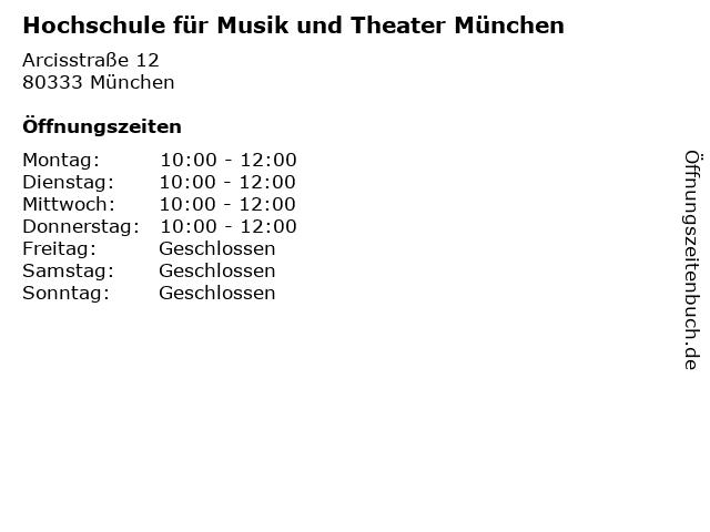 Hochschule für Musik und Theater München in München: Adresse und Öffnungszeiten