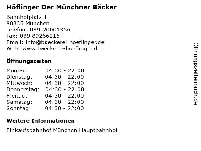 Höflinger Der Münchner Bäcker in München: Adresse und Öffnungszeiten