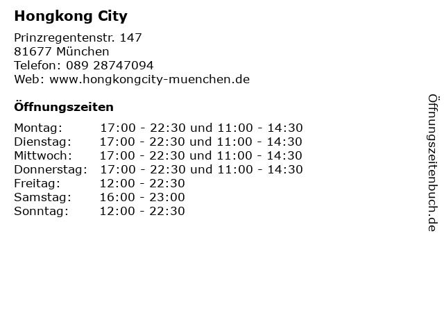 Hongkong City in München: Adresse und Öffnungszeiten