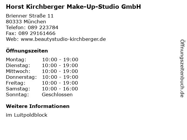 Horst Kirchberger Make-Up-Studio GmbH in München: Adresse und Öffnungszeiten