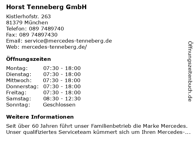 Tenneberg Horst- Mercedes Benz in München: Adresse und Öffnungszeiten