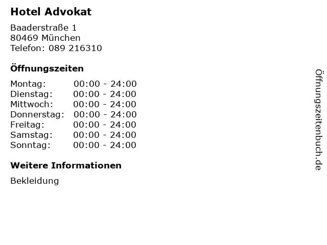 Hotel Advokat in München: Adresse und Öffnungszeiten