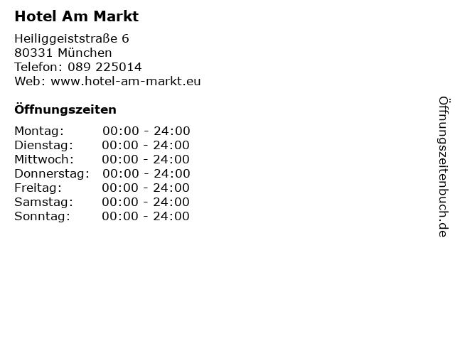 Hotel Am Markt in München: Adresse und Öffnungszeiten