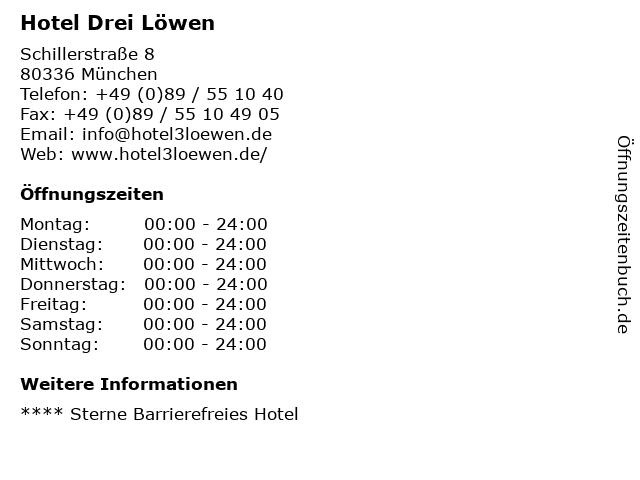 Hotel Drei Löwen in München: Adresse und Öffnungszeiten
