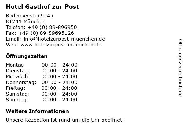 ᐅ öffnungszeiten Hotel Gasthof Zur Post Bodenseestraße 4a In München
