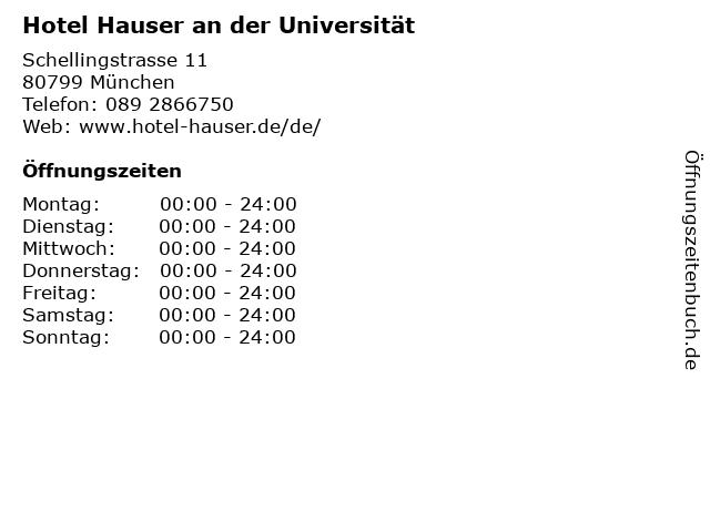 Hotel Hauser an der Universität in München: Adresse und Öffnungszeiten