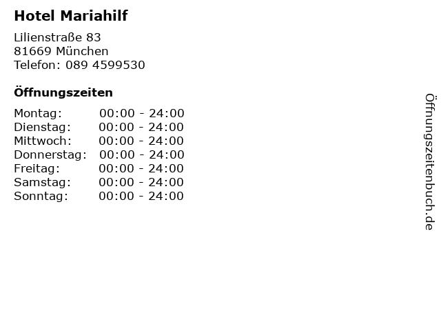 Hotel Mariahilf in München: Adresse und Öffnungszeiten