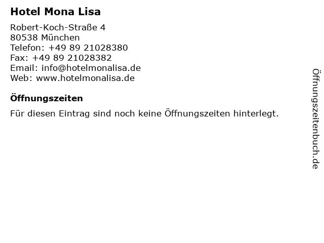 Hotel Mona Lisa München in München: Adresse und Öffnungszeiten