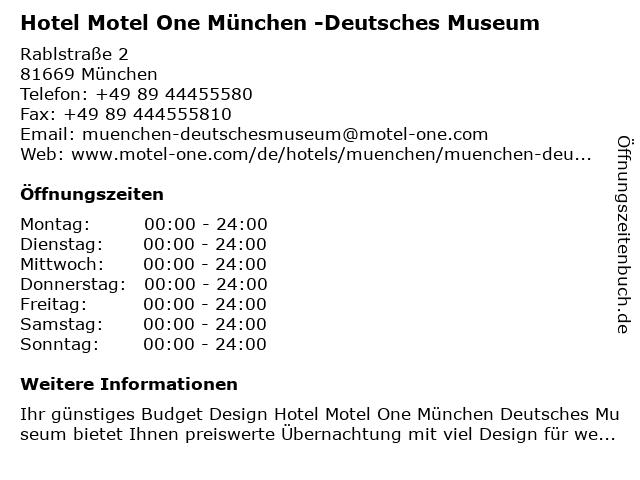 Hotel Motel One München -Deutsches Museum in München: Adresse und Öffnungszeiten