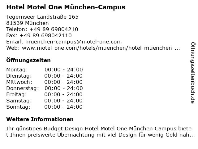 Hotel Motel One München-Campus in München: Adresse und Öffnungszeiten