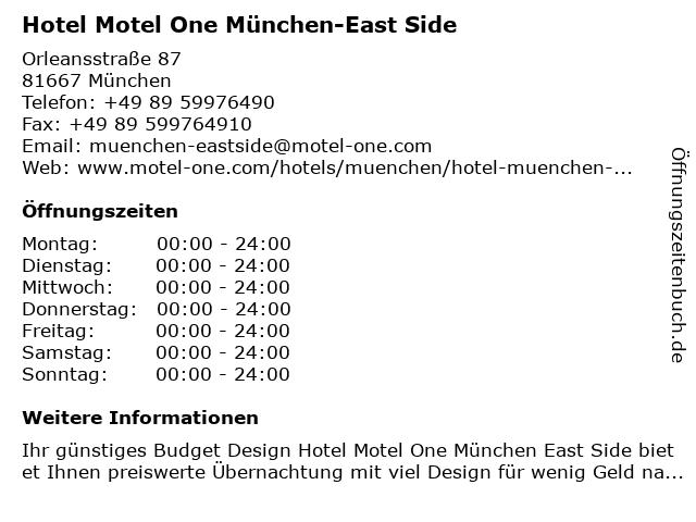 Hotel Motel One München-East Side in München: Adresse und Öffnungszeiten