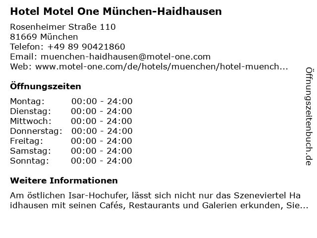 Hotel Motel One München-Haidhausen in München: Adresse und Öffnungszeiten