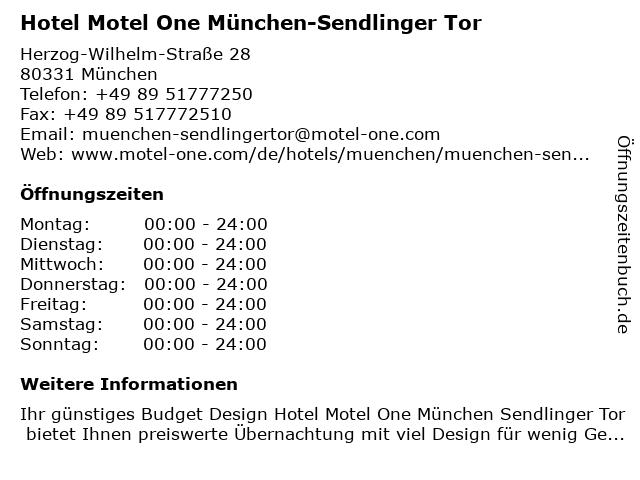 Hotel Motel One München-Sendlinger Tor in München: Adresse und Öffnungszeiten