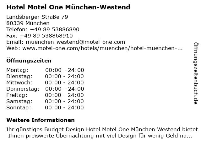 Hotel Motel One München-Westend in München: Adresse und Öffnungszeiten