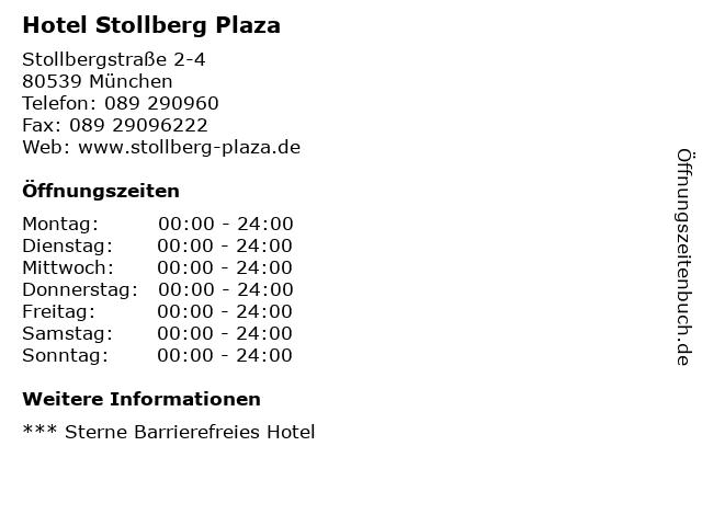 Hotel Stollberg Plaza in München: Adresse und Öffnungszeiten