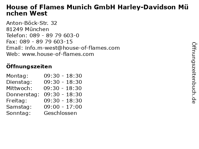 House of Flames Munich GmbH Harley-Davidson München West in München: Adresse und Öffnungszeiten