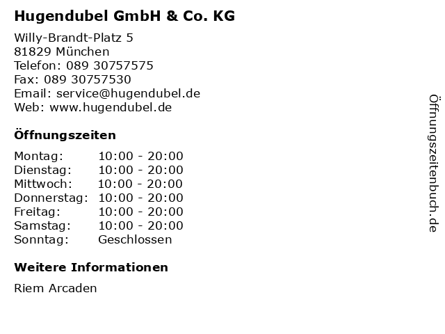 Hugendubel GmbH & Co. KG in München: Adresse und Öffnungszeiten