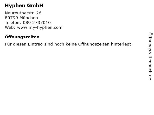 Hyphen GmbH in München: Adresse und Öffnungszeiten