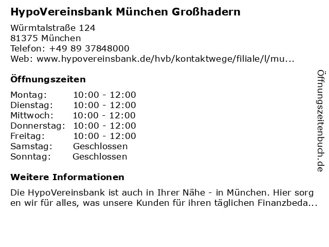 HypoVereinsbank München Großhadern in München: Adresse und Öffnungszeiten