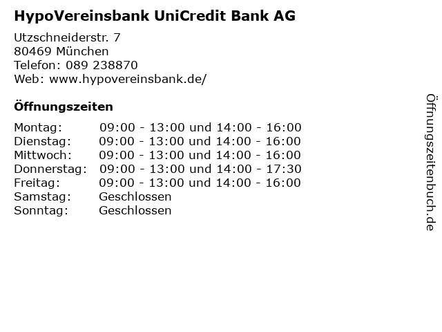 HypoVereinsbank UniCredit Bank AG in München: Adresse und Öffnungszeiten