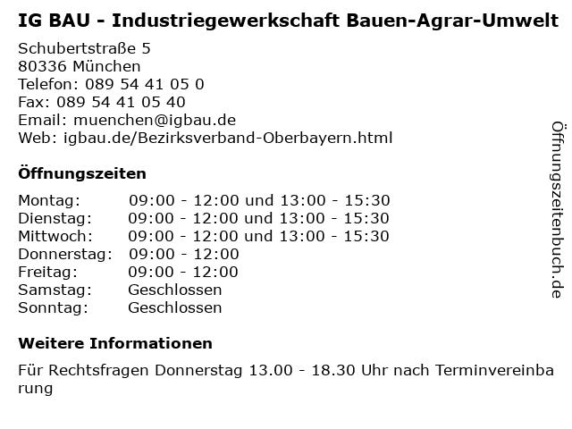 IG BAU - Industriegewerkschaft Bauen-Agrar-Umwelt in München: Adresse und Öffnungszeiten