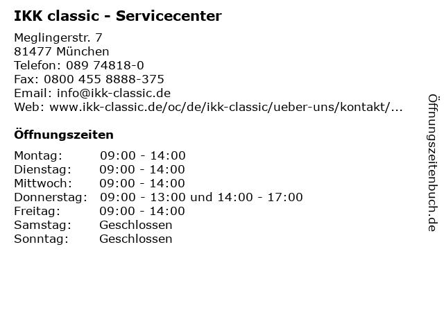 IKK classic - Servicecenter München in München: Adresse und Öffnungszeiten