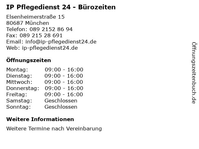 IP Pflegedienst 24 - Bürozeiten in München: Adresse und Öffnungszeiten