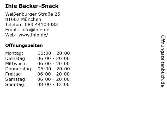 Ihle Bäcker-Snack in München: Adresse und Öffnungszeiten
