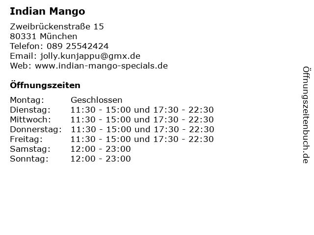 Indian Mango in München: Adresse und Öffnungszeiten
