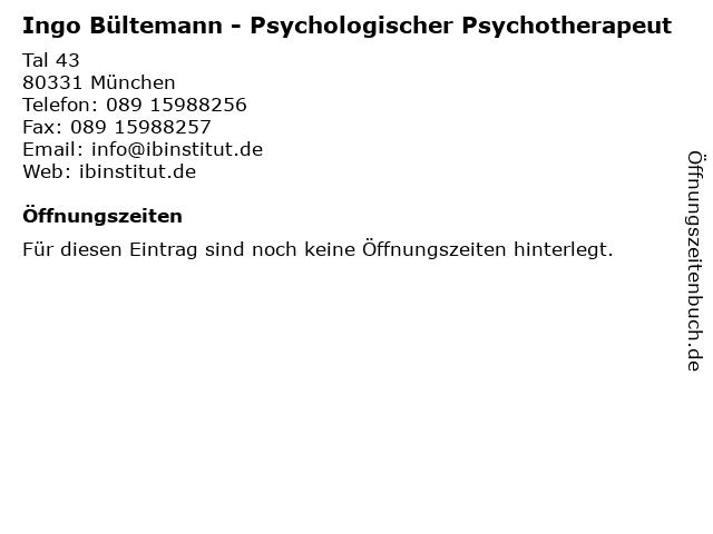 Ingo Bültemann - Psychologischer Psychotherapeut in München: Adresse und Öffnungszeiten