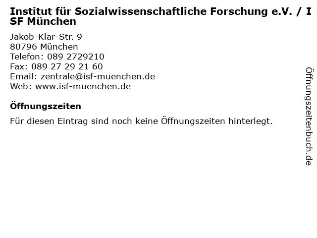 Institut für Sozialwissenschaftliche Forschung e.V. / ISF München in München: Adresse und Öffnungszeiten