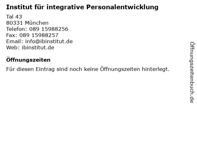Institut für integrative Personalentwicklung in München: Adresse und Öffnungszeiten