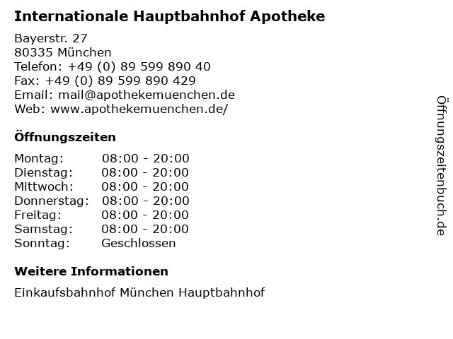 Internationale Hauptbahnhof Apotheke in München: Adresse und Öffnungszeiten