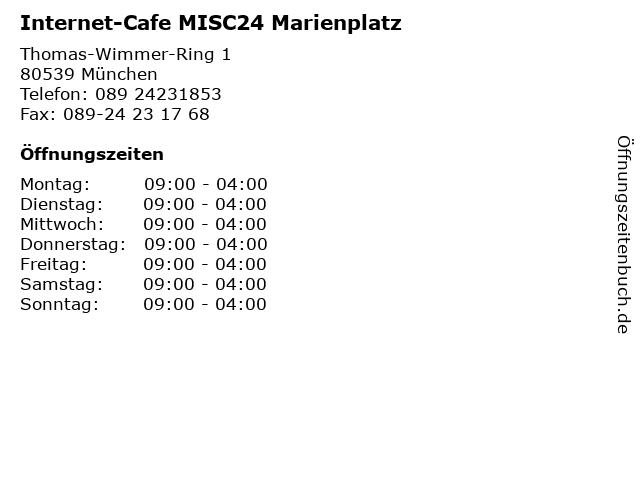 Internet-Cafe MISC24 Marienplatz in München: Adresse und Öffnungszeiten