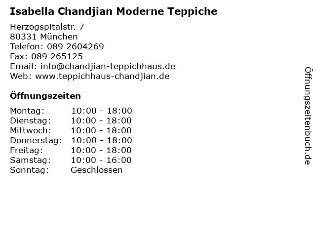 Isabella Chandjian Moderne Teppiche in München: Adresse und Öffnungszeiten
