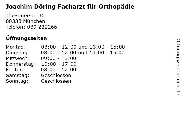 Joachim Döring Facharzt für Orthopädie in München: Adresse und Öffnungszeiten