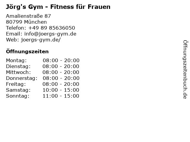 Jörg's Gym in München: Adresse und Öffnungszeiten