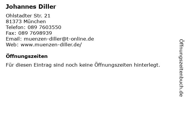Johannes Diller - Münzhandlung in München: Adresse und Öffnungszeiten